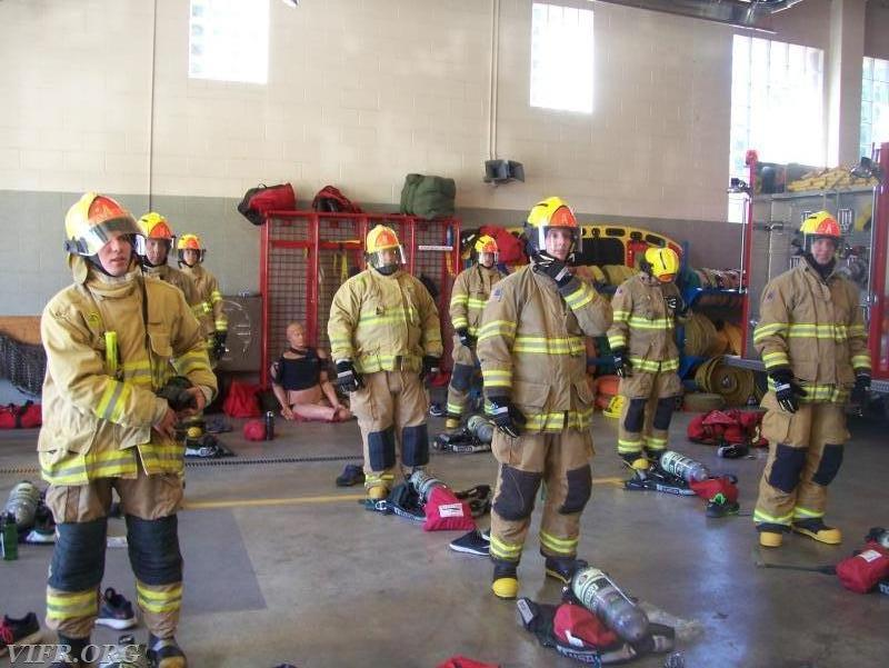 PPE donning practice, first day putting on bunker gear