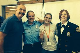 Left to right: John Hemmer, VIFR Explorer advisor; Shannon McConnell, Florida firefighter and Camp Blaze volunteer; Ellen Chappelka, VIFR Explorer; VIFR Battalion Chief Cari Coll, Camp Blaze volunteer.